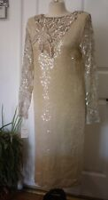 Vintage NOS M 100% Silk Cream Sequin Wedding Flapper Dress India Estate