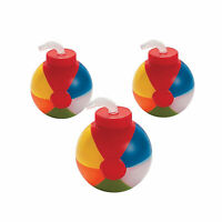 Beach Ball-Shaped Cups With Straws - Party Supplies - 12 Pieces
