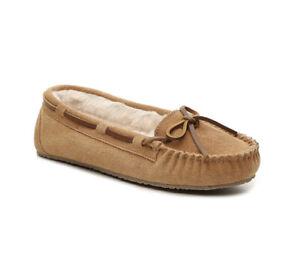 Minnetonka 4036 Women's Size 9 Chestnut Suede Leather Fur Lined Slippers
