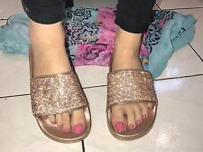 Rhinestone Womens Crystal  Flip Flop Beach Sandal Sliders Rose Gold Size 36, 3❤️