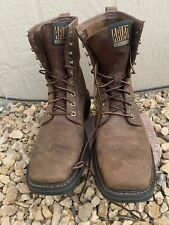 Mens 11.5 Medium Ariat Cascade Tan Brown Leather Lace-Up Work Boots