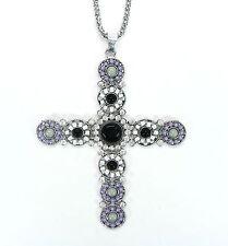 NEU 90cm HALSKETTE Kreuz STRASSSTEINE kristallklar PERLEN schwarz HIMBEERKETTE