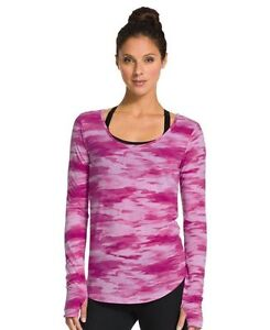NWT Under Armour Cross-Town Printed Long Sleeve Cotton Magenta Top sz XS;S