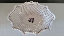 Vintage Ethan Allen White Lattice Porcelain Basket w/Purple Floral Design
