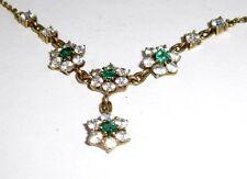 A4 Vintage Smaragd Collier 585 Gelbgold Smaragd 0,40 ct Florales Design