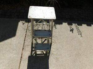 Vintage White Wood Folding Farmhouse Step Stool