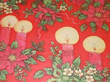 New ListingVtg Christmas Wrapping Paper Gift Wrap 1960 Halo Candle Poinsettia Holly Nos