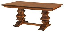 Amish Traditional Double Pedestal Trestle Dining Table Solid Wood Extending