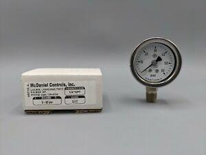 "McDaniel Control ""New"" Gauge Q3C 0-60 PSI  1/4"" Bottom Mount - Stainless Steel"