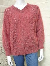 Vintage 80s Rosa Y Rojo Hilo boucle de gran tamaño Fluffy Escote En V BATWING PUENTE Grunge M