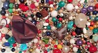WOW BEAD LOT Jewelry Making Beads Crystals Glass Pendant VTG+ FRUIT SALAD 400 pc