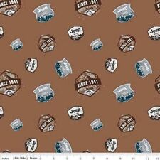 Jeep Pioneering the Wilderness Since 1941 Logos Brown Cotton Fabric Fat Quarter