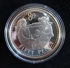 2006 SILVER & GOLD PROOF FALKLAND ISL'S 50p PENCE COIN THE QUEENS 80th BIRTHDAY