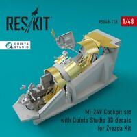 Reskit RSU48-0118 - 1/48 Mi-24 (V) Cockpit set with Quinta Studio 3D decals kit