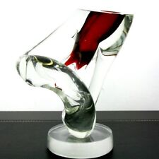 "NEIL DUMAN BENT PIERCED GLASS ART Sculpture/Paperweight with Base,Apr 7""Wx8.5""H"