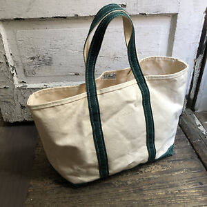 """Vintage 80s 90s LL BEAN Boat And Tote Canvas Tote Bag Green Handles USA 12""""x23"""""""