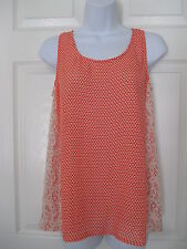 NWT ANTHROPOLOGIE MYSTREE ORANGE & LACE TRIMMED SHIRT SIZE S CUTE!