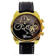 Gold Black Mens Wrist Watch Geneva Designer Silicone Sport Chrono Oversized