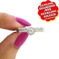 1/3 Ct Natural Diamond 14K Gold Over Halo Engagement Wedding Ring Bridal Set