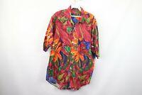 Vtg 90s Mens Medium Abstract Geometric Floral Print Fresh Prince Button Shirt