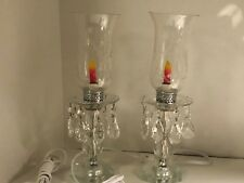 2 VINTAGE CRYSTAL MANTLE ELECTRIC HURRICANE LAMPS WITH PRISMS