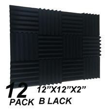 12 black Acoustic Foam Wedge Tiles Soundproofing Panel Sponge Studio 12x12x2''