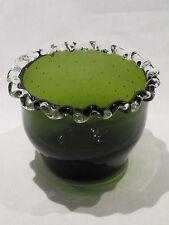 "Vintage Artglass Green Controlled Bubble Bowl w/ Silver Crest Type Edge 3½ x 4½"""