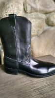 Hy-Test men's black leather slip-on boots safety toe size 8 A. New in box