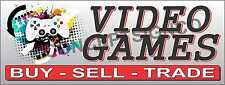 2'X5' VIDEO GAMES BANNER Sign Buy Sell Trade Console Systems Pawn Xbox NES N64