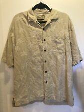 Men's Jamaica Jaxx Shirt SILK Short Sleeve Button Down Floral Tan Tropical SZ M