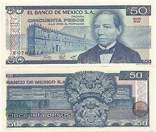 MEXICO $ 50.- P-73 27.1.1981 UNC SERIE KW PRINTER BANCO DE MEXICO S.A.