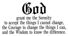 SERENITY PRAYER VINYL WALL DECAL STICKER HOME ART Alcoholics Anonymous QUOTE GOD