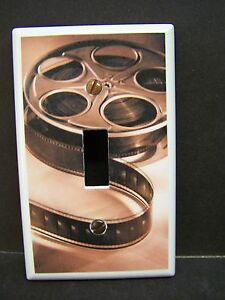 MOVIE REEL HOME THEATER BROWN TONES   LIGHT SWITCH COVER PLATE OR OUTLET