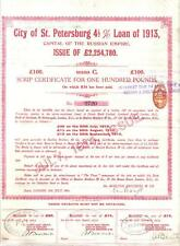 Original Russia Imperial Loan 1913 City St. Petersburg £100 Uncancelled