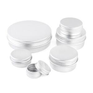 Aluminum Tin Jar Cosmetic Container Makeup Round Cans Salve Candle DIY Crafts B