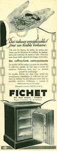 Publicité ancienne coffre fort Fichet 1925 issue de magazine DAM