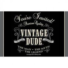 VINTAGE DUDE BIRTHDAY INVITATIONS GATEFOLD 8PK FAVOURS PARTY