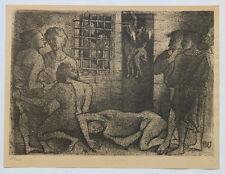 1955 René-Jean CLOT Lithographie originale en noir 1/200 Les Emmurés Enfer