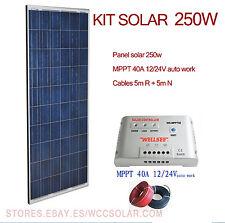 Kit Solar 250W 12V y 24V com MPPT Panel Fotovoltaico 10m cables