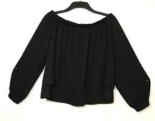 BLACK LADIES PARTY EVENING BARDOT TOP BLOUSE SIZE 16 ASOS Off-the-Shoulder