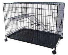 2 Level Ferret Cat Chinchilla Cage Crate, Black