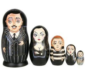 "NESTING DOLLS - The Addams Family Russian Matryoshka 7"" / 5 pc"