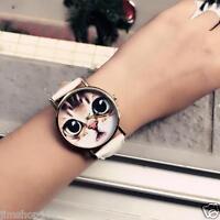 Fashion Womens Watch Cat Pattern Leather Band Analog Quartz Vogue Wrist Watches