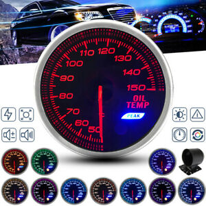 2'' 52mm Pointer Digital Oil Temp Gauge Led Car Temperature Meter 1/8 Npt Sender
