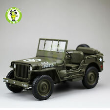1/18 1/4 Ton US ARMY WILLYS JEEP TOP DOWN Diecast Car Model Army Green
