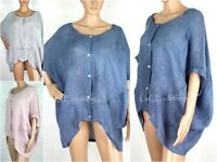 NEW Womens Italian Oversize Linen Lagenlook Shirt Button Top