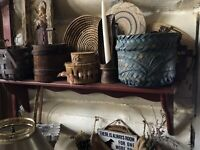 Beautiful Antique Early Splint Herringbone Weave Basket Robbin Egg Blue Paint