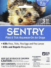 Sergeants Pet Care Prod 3 Count Sentry Flea and Tick Squeeze-On Dog Drop, Upt...