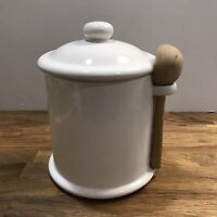 Gorgeous LARGE VINTAGE BEE HOUSE JAPAN white canister With Spoon Excellent