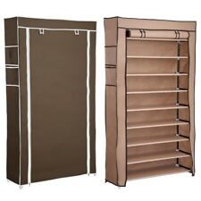 10 Layer Shoe Boot Rack Shelf 45 Pairs Storage Closet Organizer Cabinet W/  Cover